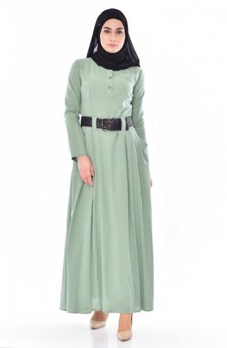 Kemerli Cepli Elbise 3001-09 Mint Yeşili