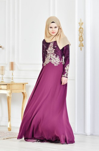 Sequined Evening Dress 3302-02 Plum 3302-02