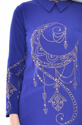 Tunique Perlées İmprimée de Pierre 8030-02 Bleu Roi 8030-02
