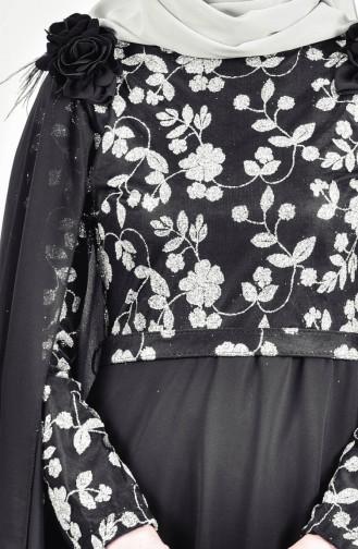Glitzer Abendkleid mit Umhang 3285-06 Schwarz 3285-06