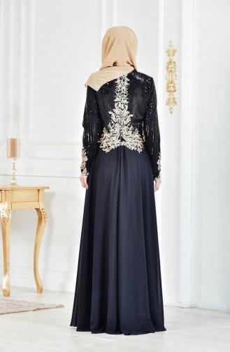 Abendkleid mit Pailetten 3302-03 Schwarz 3302-03