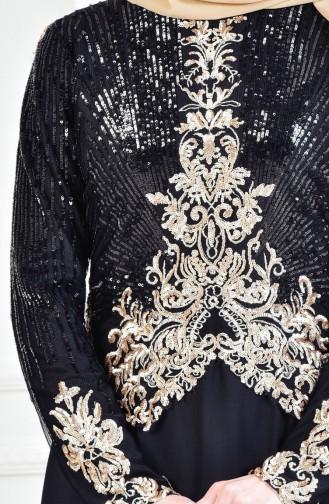 Robe de Soirée a Paillette 3302-03 Noir 3302-03