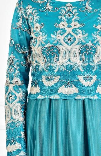 Dantelli Abiye Elbise 3175-03 Zümrüt Yeşili 3175-03