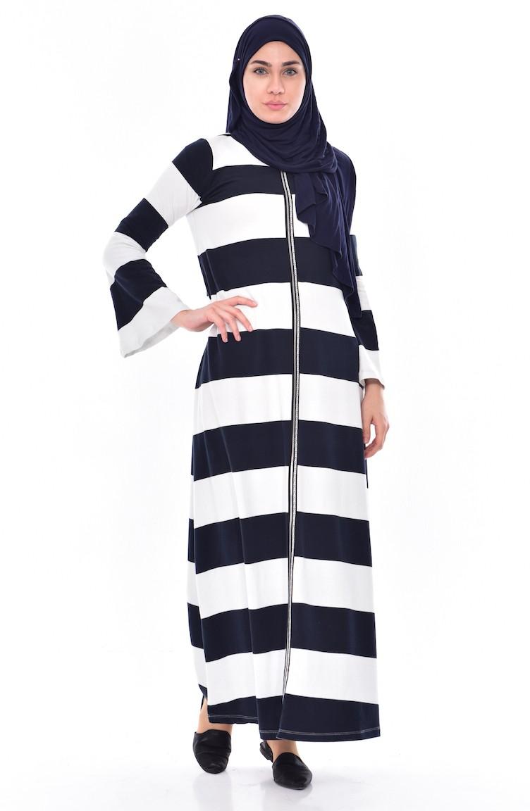 5a3327b71b Robe a Rayure 00129-01 Bleu Marine Blanc 00129-01