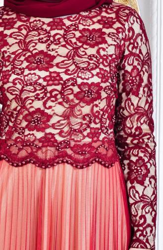 Robe de Soirée Perlées 3125-02 Bordeaux 3125-02
