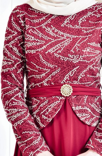 Sequined Brooch Evening Dress 9056-01 claret red 9056-01