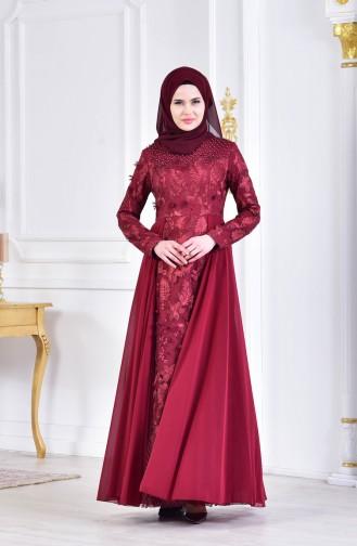 Abendkleid mit Perlen 8134-01 Weinrot 8134-01