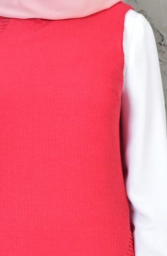 طقم تونيك وسترة بدون اكمام غير مُتماثل الطول 1817078-300 لون احمر وبيج فاتح 1817078-300