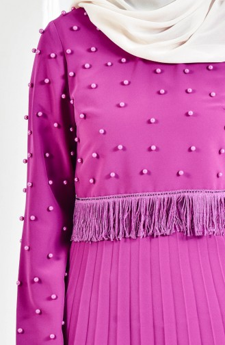 Ensemble Deux Pieces Blouse Robe de Soirée Perlées 9097-02 Pourpre 9097-02