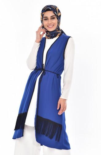Gilet avec Franges 1008-03 Bleu Roi 1008-03