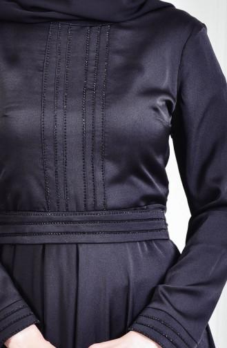 Robe de Soirée İmprimée de Pierre 9098-01 Noir 9098-01