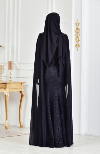 Robe de Soirée a Dentelle et Perles 3281-05 Noir 3281-05