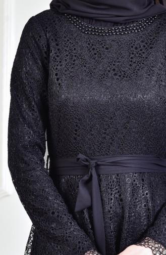 Robe de Soirée a Dentelle et Perles 3292-02 Noir 3292-02