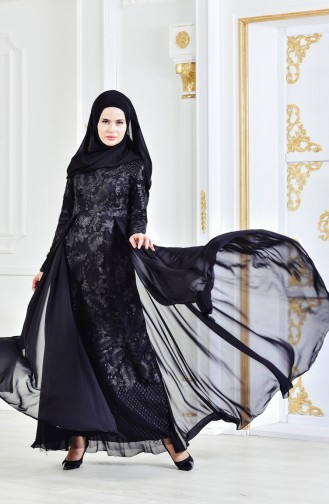 Robe de Soirée Perlées 8134-08 Noir 8134-08