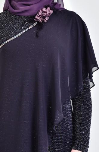 Silbrige Overall mit Chiffon Detail 1813411-800 Schwarz 1813411-800
