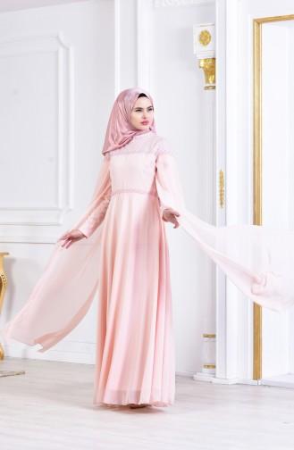 فستان سهرة بتصميم من قطعتين 3294-05 لون مشمشي 3294-05