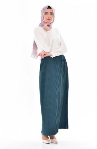 تنورة بتصميم طيات 20971-04 لون اخضر زمردي 20971-04