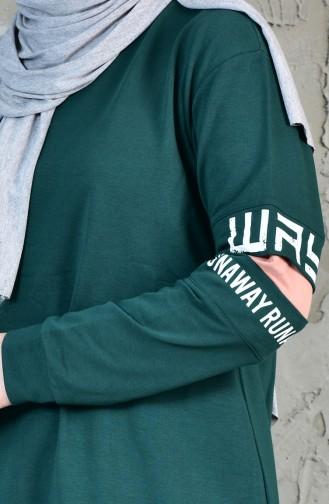 Sweatshirt İmprimé 8113-01 Vert emeraude 8113-01