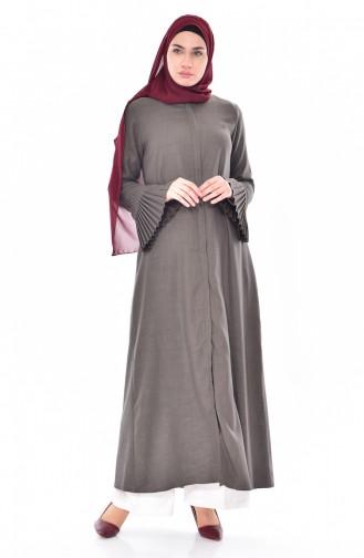 Abaya a Fermeture Manches Plissée 49502-06 Vert Khaki Clair 49502-06