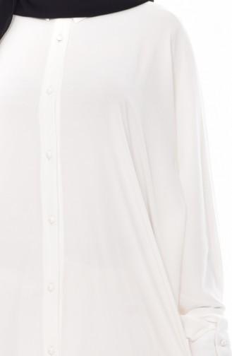 Longue Tunique Manches Chauve-Souris 2032-01 Blanc 2032-01