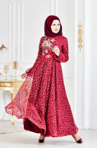 Robe de Soirée Bordée a Paillette 3148-03 Bordeaux 3148-03