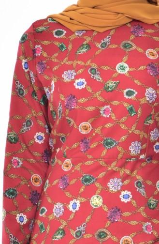 فستان بتصميم مُطبع 3006-04 لون خمري 3006-04