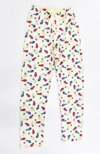 Pantalon Pyjama İmprimé 0435-4-01 Ecru 0435-4-01