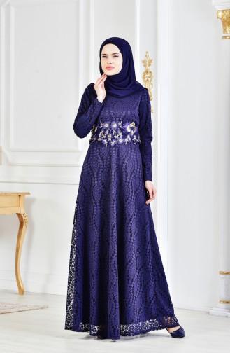 Lace V-neck Evening Dress 3286-01 Navy Blue 3286-01