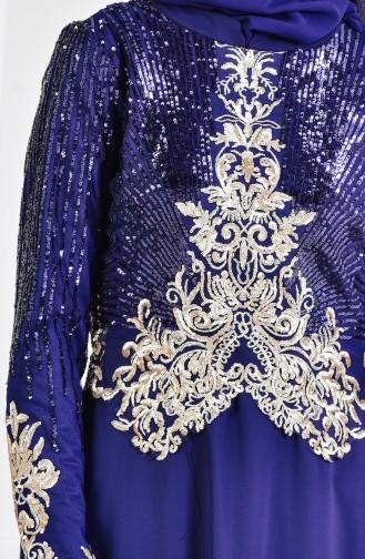 Robe de Soirée a Paillette 3302-01 Bleu Marine 3302-01