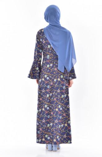 İspanyol Kol Desenli Elbise 3007-03 Lacivert