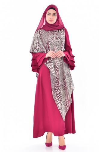 İspanyol Kol Taşlı Elbise 1813399-501 Mürdüm