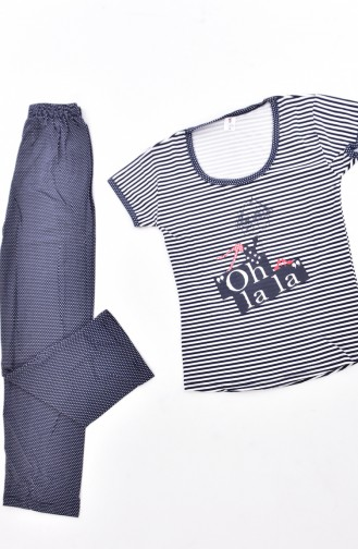 Ensemble Pyjama a Motifs 2822-01-01 Bleu Marine 2822-01-01