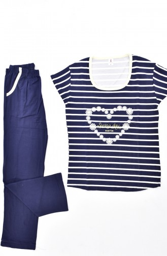 Çizgili Pijama Takım 2976-04-01 Lacivert
