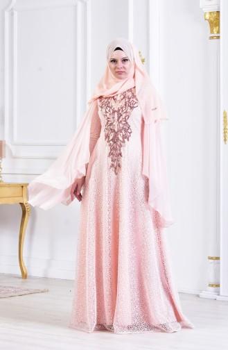 فستان يتميز بتفاصيل من الترتر 3287-02 لون وردي 3287-02