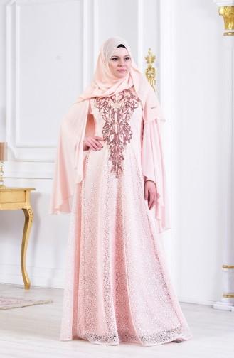 Sequined Evening Dress 3287-02 Powder 3287-02