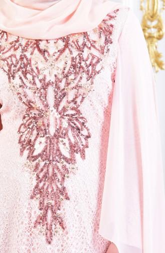 Robe de Soirée a Paillette 3287-02 Poudre 3287-02