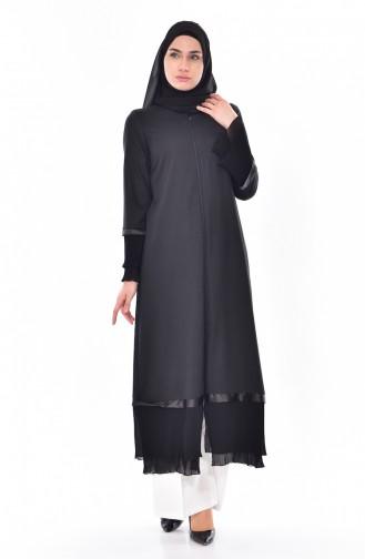 Abaya Garnie a Fermeture 49503-01 Noir 49503-01