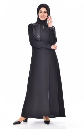 Abaya a Feremture 1027-01 Noir 1027-01
