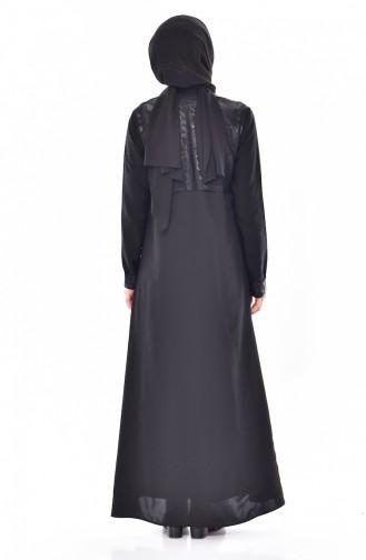 عباءة بتصميم سحاب 1027-01 لون أسود 1027-01
