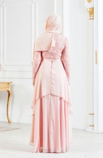 Spitzen Abendkleid mit Gürtel 3308-03 Lachs 3308-03