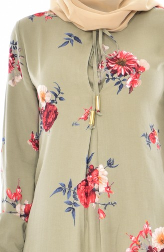 BENGISU Patterned Dress 5040-14 Water Green 5040-14