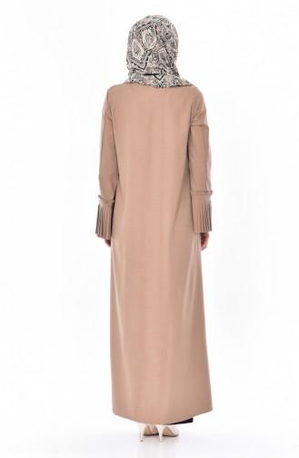 Reißverschluss Abaya mit Faltenarm Detalliert 49502-13 Nerz 49502-13