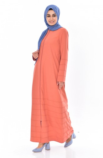 Abaya a Fermeture 49501-04 Orange Pâle 49501-04