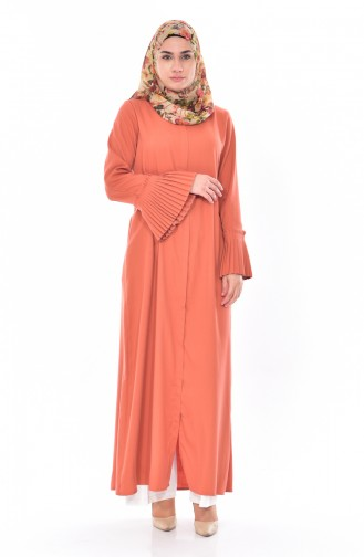 Sleeve Pleated Zippered Abaya 49502-12 Light Coral 49502-12