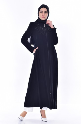 Abaya İmprimée de Pierre 0165-01 Noir 0165-01