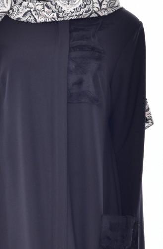 Abaya Plissée avec Poches 35834-01 Noir 35834-01