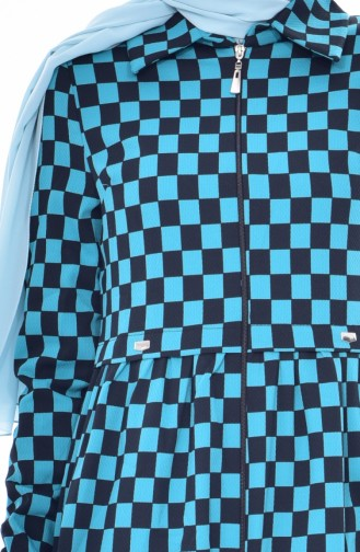 Kariertes Langes Cape 0130-02 Schwarz Blau 0130-02