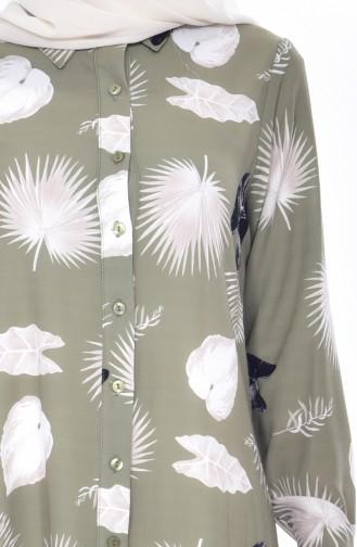 Gemusterte Asymetrische Tunika 7014-01 Khaki 7014-01
