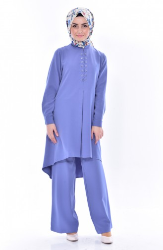Asymmetric Tunic Pants Double Suit 2315-05 İndigo 2315-05