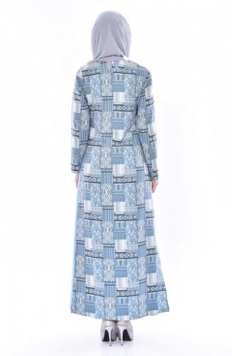 فستان مُطبع بتصميم من قطعتين  3036-02 لون نيلي 3036-02